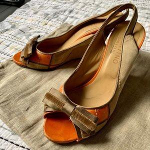 Valentino Tan & Orange Wedges